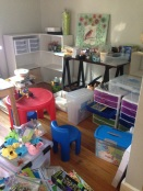Homeschool room getting organized