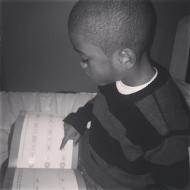 Reading his Hooked on Phonics lesson